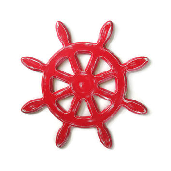 Captains Wheel Wall Decor distressed rustic nautical wall hanging hand painted in custom colors, shabby ships wheel