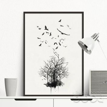 Vintage Tree with Birds Canvas Art Print Poster No Frame