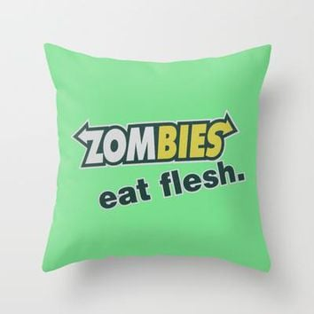 Zombie Eat Flesh Throw Pillow By Wood N Images