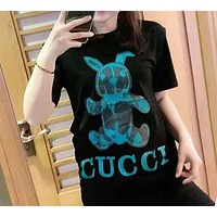 """""""GUCCI""""Woman's Leisure  Fashion Pattern Letter Printing Loose Short Sleeve Tops"""