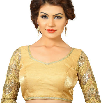 Saris and Things Gold Dupion Silk Fancy Back Open Saree Blouse Choli SNT-X-392-GOLD