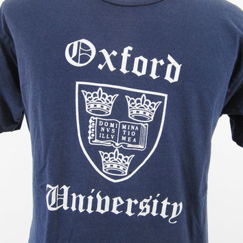 Vintage 70s Oxford University T-shirt Navy Blue Distressed Cotton - Size Large