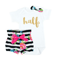 Baby Girls Half Birthday Outfit | Black and White Stripe and Fuchsia Floral High Waisted Bloomers Outfit with Gold Half