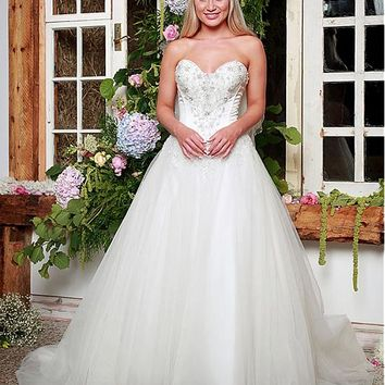 [179.99] Elegant Tulle & Satin Sweetheart Neckline A-Line Wedding Dresses With Beaded Lace Appliques - dressilyme.com