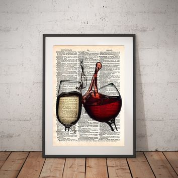 Wine splash art, red and white wine, wedding toast art, wine lovers art