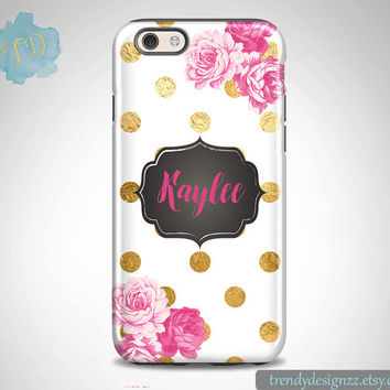 Monogram iPhone 6 case, Personalized iPhone 6s Plus case iPhone 5s case 6 plus Samsung case S6 Edge S5 S4 Faux Gold Foil Dots Pink Roses(47)