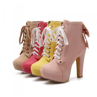 Sweet bow high-heeled boots
