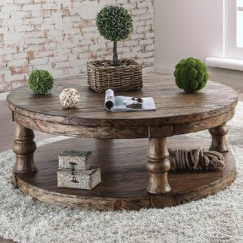 Furniture of america CM4424A-C Mika antique oak finish wood round coffee table