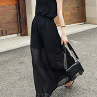 Black Sleeveless V-Neckline Chiffon Maxi Dress