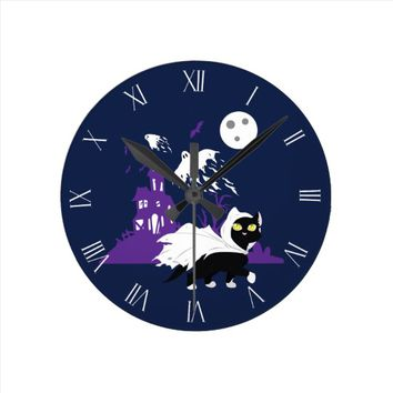 Ghost Kitty Round Clock
