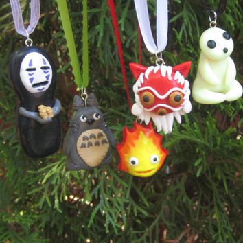 Studio Ghibli Inspired Holiday Ornaments: Kodama, Princess Mononoke, Totoro, Calcifer and No-Face!