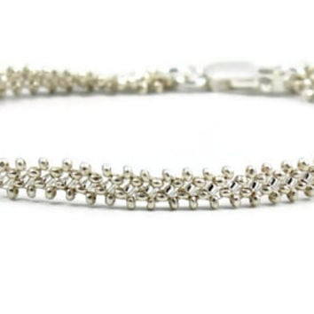 Silver Chain Bracelet - Beadwork Jewelry - Layering Bracelet - Wedding Jewelry - Bridesmaid Gifts - Karen Hill Tribe Silver - Bead Bracelet