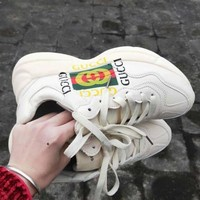 GUCCI street fashion men and women models wild thick double G printing sports shoes