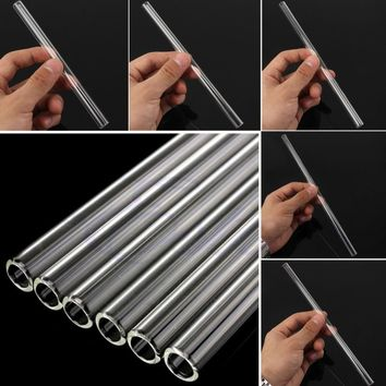New Clear Glass 10mm Reusable Wedding Birthday Party Drinking Straws Thick Straws