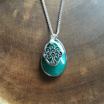 Tree of Life Necklace, Green Charm Necklace, Womens Necklace, Religious Necklace, Spring Necklace