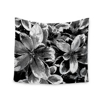 "Julia Grifol ""Leaves In Gray"" Floral Black Wall Tapestry"