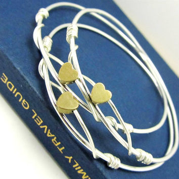 Tiny Heart Bangles Bracelets, Sterling Silver, Stacking Bangles, LoVE Friendship Bridesmaid, Mothers Gift,Weddings, Graduations