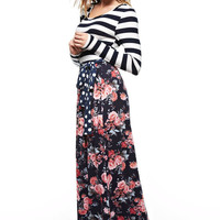 Long Sleeve Stripe & Floral Maxi
