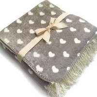 Cuddle Fleece Blanket with Ecru Crochet Edge and Fringe. Grey and White- White Hearts print- Throw Fleece Blanket