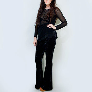 High Waist Flare Pants, Black Crushed Velvet Women's High Waisted Bohemian Black Bellbottoms