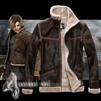 Men's Fashion Resident Evil 4 Leon Coat Jacket Fur Costume Costume Cosplay S M XL 2XL 3XL 4XL = 1958677636