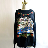 Vintage Christmas Sweater . Winter Wonderland Holiday Party Jumper