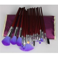16pcs Professional Cosmetic Makeup Make up Brush Brushes Set Kit With Classic Shining Purple Travel Carry Case Pouch