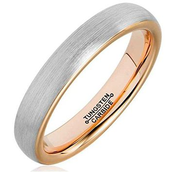 4mm Tungsten Carbide Ring Rose Gold Plated Fashion Wedding Engagement Promise Band Silver Dull Polish (Platinum 14k, 18k Rose Gold)