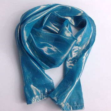 Turquoise Blue Long scarf, Sparkle iridescent scarf, Azure 70X16 Long Scarf Silk Holiday gift, Flower Girl Sash, Hair Scarf, Gift for Mom