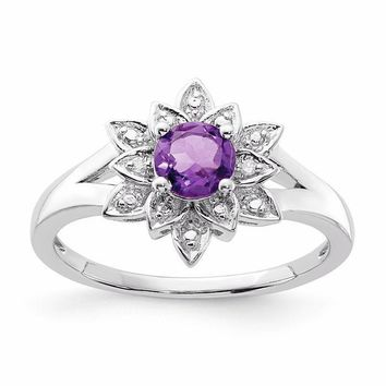 Sterling Silver Genuine Amethyst & Diamond Accented Lotus Flower Ring