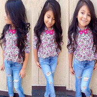Girls 2 PC Outfit Denim and Floral