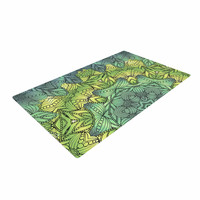 "Art Love Passion ""Fairy Mandala"" Green Yellow Woven Area Rug"