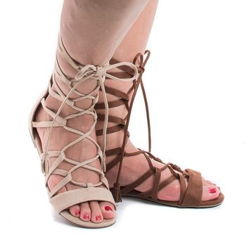 Judas Tan By Soda, Open Toe Gladiator Lace Up Leg Wrap Flat Sandals