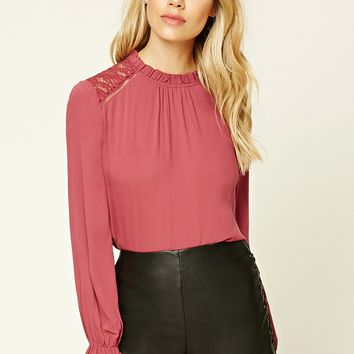 Floral Lace-Paneled Top