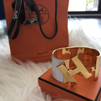 Hermes Enamel Bracelet White And Gold Extra Wide