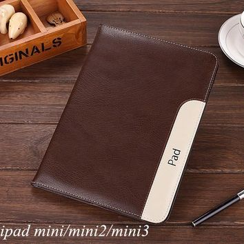 New Luxury thin Leather Case/Stand with holder For Apple iPad Mini, Mini 2, Mini 3