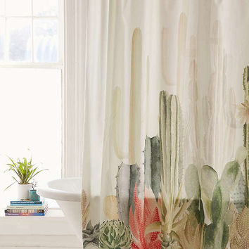 Cactus Landscape Shower Curtain | Urban Outfitters