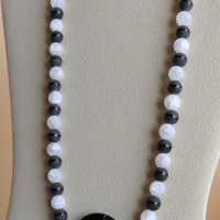 Onyx and Quartz Necklace with Sterling Silver Clasp, Statteam