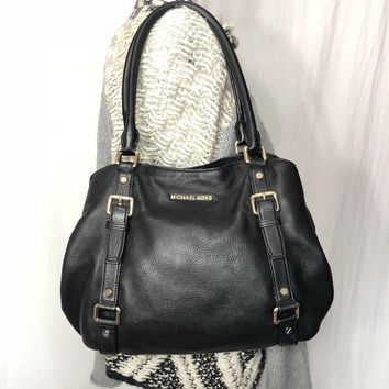 Michael Kors Black Pebble Leather Large Tote Shoulder Bag Hobo Buckle Purse MK
