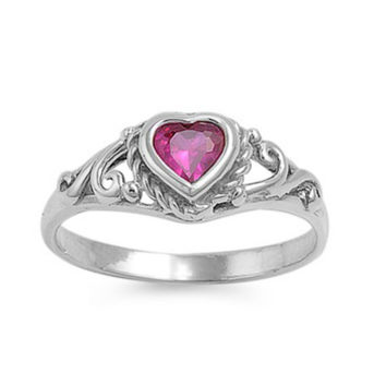 .925 Sterling Silver Ruby Red CZ Heart Baby Kids Ring Size 1-5