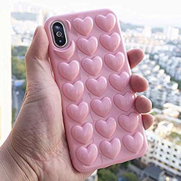 iPhone 8 Case, iPhone 7 Case for Girl, DMaos Cute Girly 3D Bubble Heart Cover with Crossbody Strap, Soft Rubber Shock-Absorption, Premium for iPhone8/iPhone7 4.7 Inch - Pink