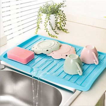 Large Plastic Sink Dish Drainer Tray Drin Board Vegetable Fruit Drying Rack Washing Holder Storage Rack Kitchen Organizer Shelf