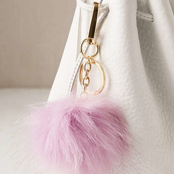 Light-Up Faux Fur Pom Pom Keychain - Urban Outfitters
