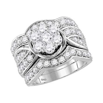 14kt White Gold Women's Round Diamond 3-Piece Flower Bridal Wedding Engagement Ring Band Set 3.00 Cttw - FREE Shipping (US/CAN)