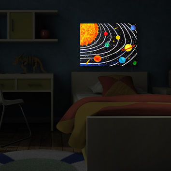 Escape to Another Galaxy With This Solar System Wall Art, Night Light, Illuminated Art, Kid's Art Doubles As A Light