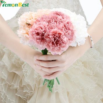 5 Heads Artificial Flowers High Quality Peony Flower Bridal Bouquet Fake Floral Hydrangea For Home Christmas Wedding Decoration