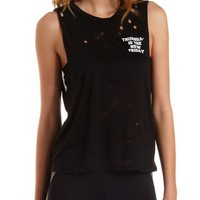 Black Distresssed Thursday Graphic Muscle Tee by Charlotte Russe