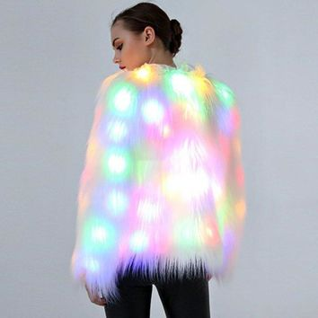 New Design LED Light Faux Fur Coat Women Jacket  Luminous Christmas Party Overcoat Womens Floating Hair Faux Fur Outwear Femme 3