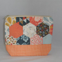 One Of A Kind Zipper Pouch Made With Fabric Hexies