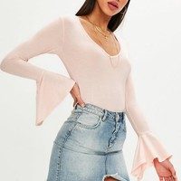 Missguided - Pink V Neck Flared Sleeve Top